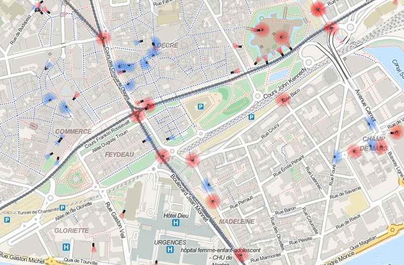 Carte des caméras de surveillance à Nantes
