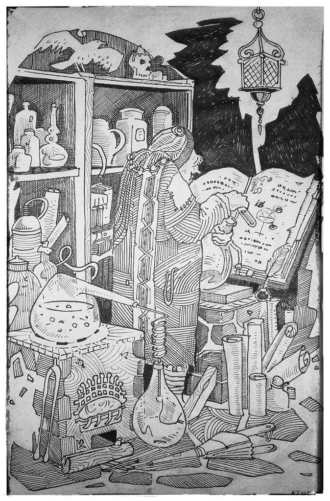 alchimiste alchemist drawing lineart fineart