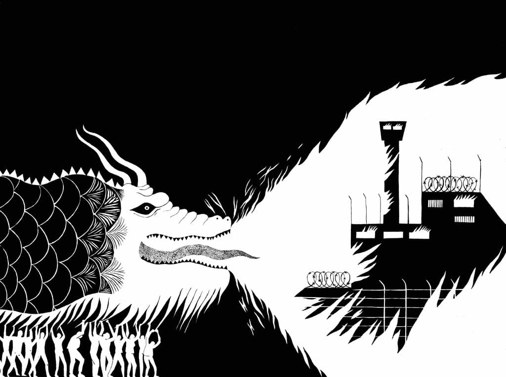 Dragon Noir feu aux prisons